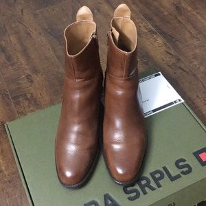Zara cognac leather ankle boots